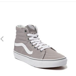 Vans SK8 Hi Top Skate Shoe - Light Grey /White